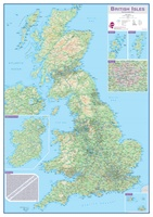 Engeland - British Isles roadplanning wall map, 84 X 119 cm