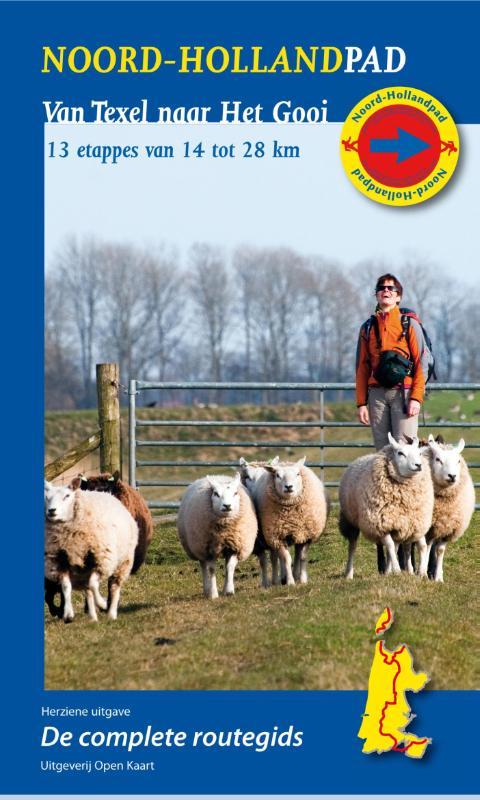 Wandelgids Noord-Hollandpad -  Van Texel naar Het Gooi   Open kaart Uitgeverij