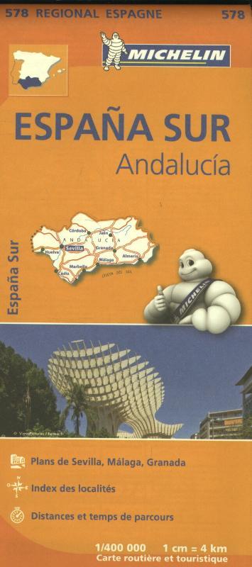 Wegenkaart - Landkaart 578 Andalusië - Malaga - Granada - Sevilla   Michelin