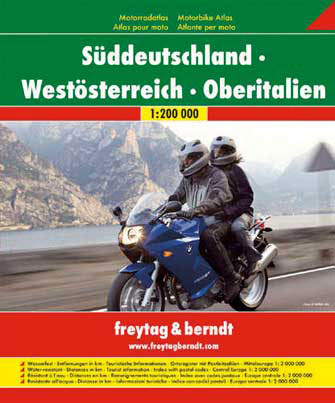 Wegenatlas Motoratlas Zuid Duitsland - West Oostenrijk - Noord Itali�   Freytag & Berndt
