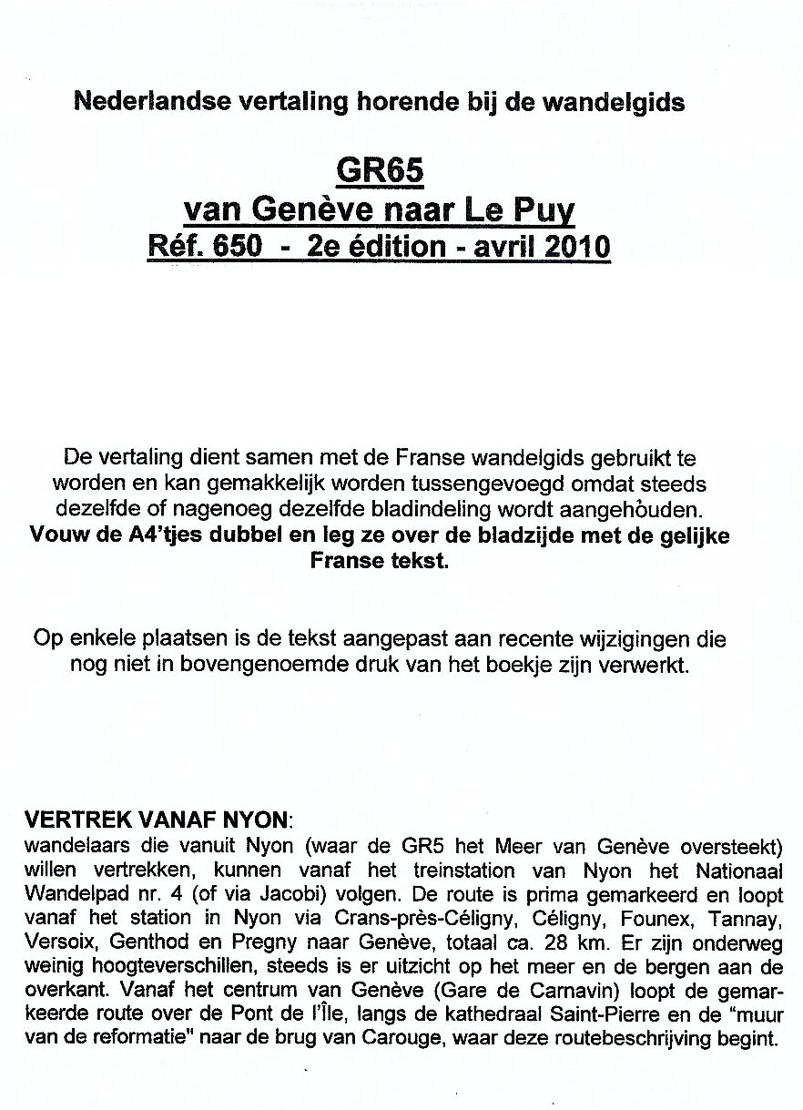 Wandelgids Vertaling GR65 Geneve - Le Puy   FFRP - GR5teLijf
