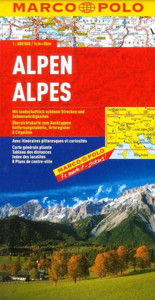 Wegenkaart - landkaart Alps - Alpen   Marco Polo