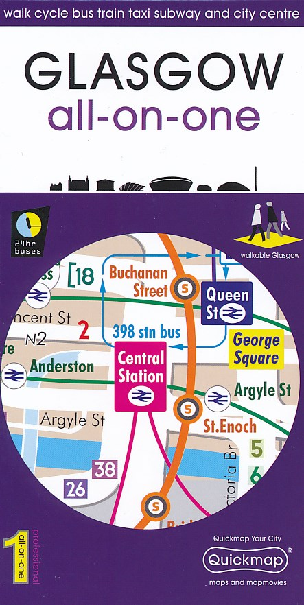 Stadsplattegrond Glasgow all-on-one pocket map   Quickmap