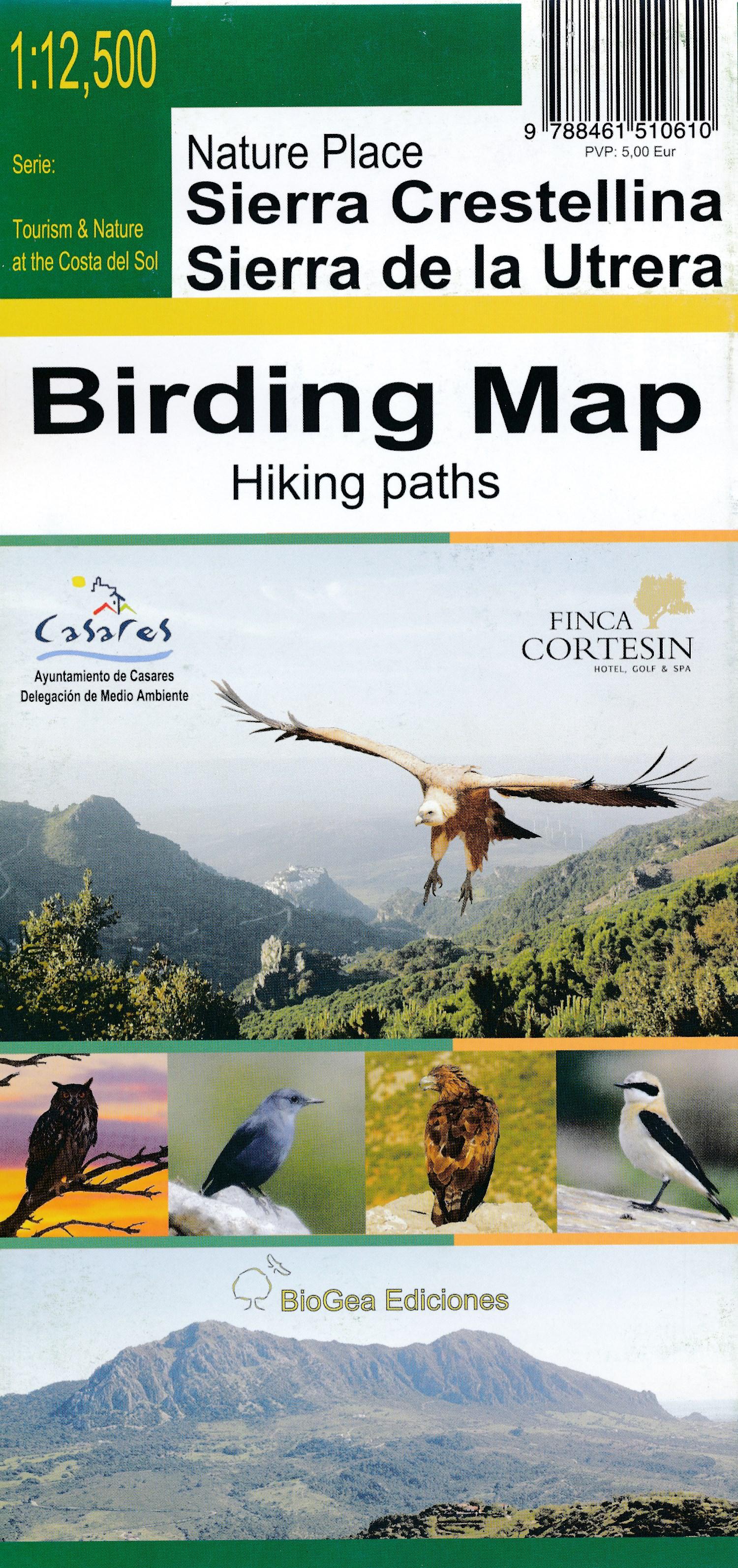 Landkaart Sierra Crestellina - Sierra de la Utrera: Birding Map - Mapa Ornitológico   Tourism Costa del Sol