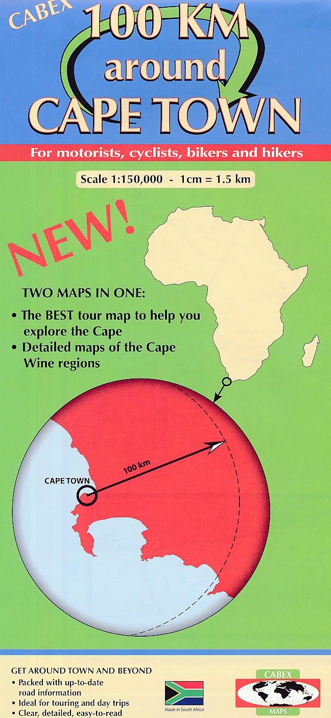 Wegenkaart - fietskaart 100 km around Cape Town - Kaapstad   Cabex Tracks4Africa