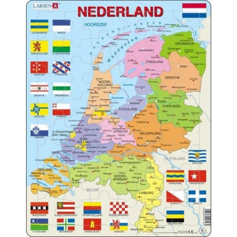 Topo puzzel Nederland staatkundig + topoboekje NL   Larsen