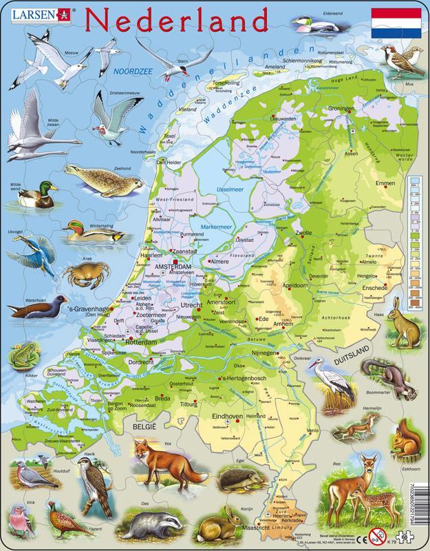 Topo puzzel Nederland natuurkundig   Larsen