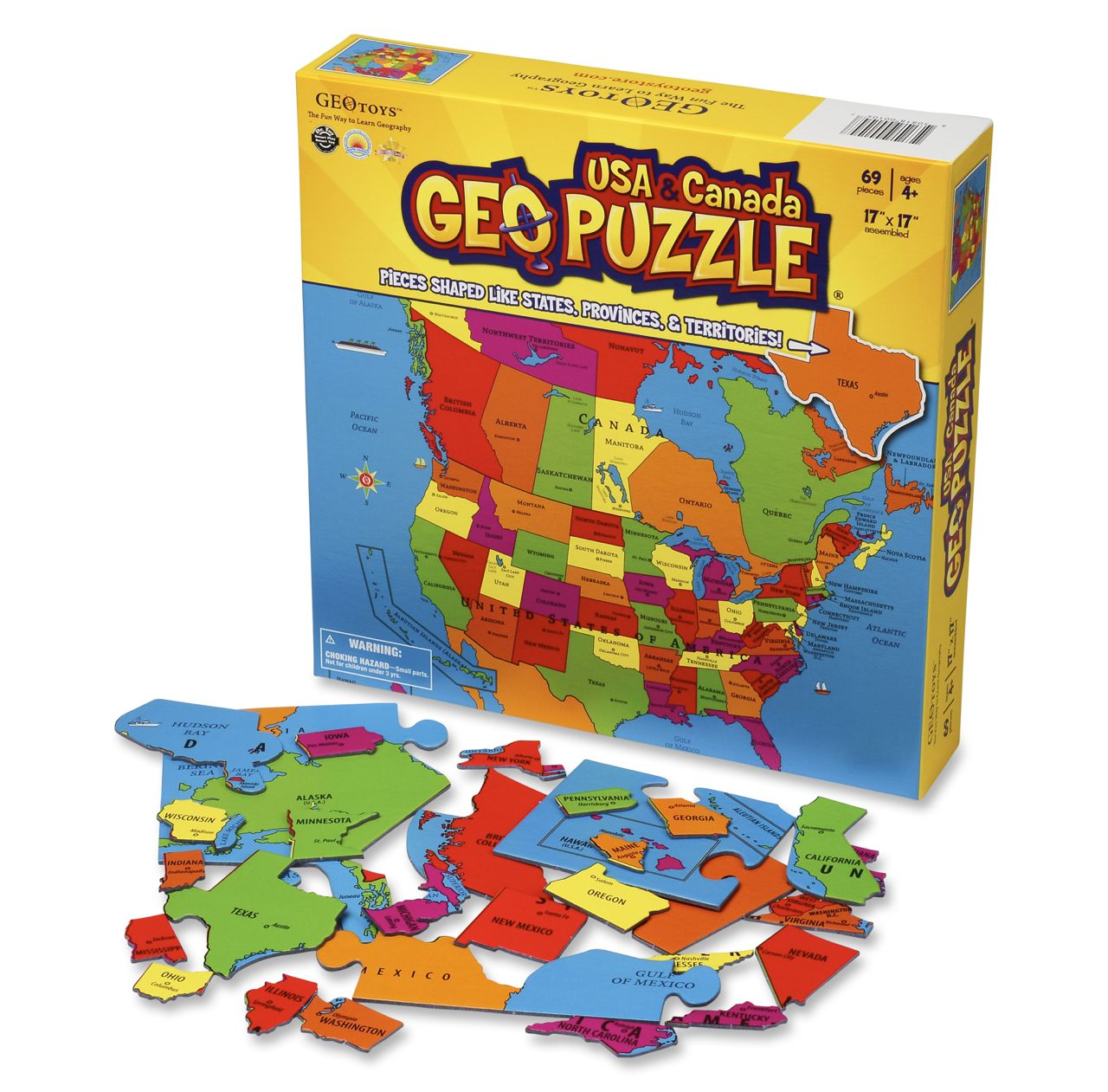 Legpuzzel Geopuzzle U.S.A. and Canada - Verenigde Staten en Canada   Geotoys