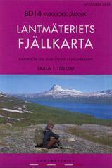 Wandelkaart BD14 Kvikkjokk - Jäkkvik Fjällkarta Topografische kaart Zweden   Lantmateriet