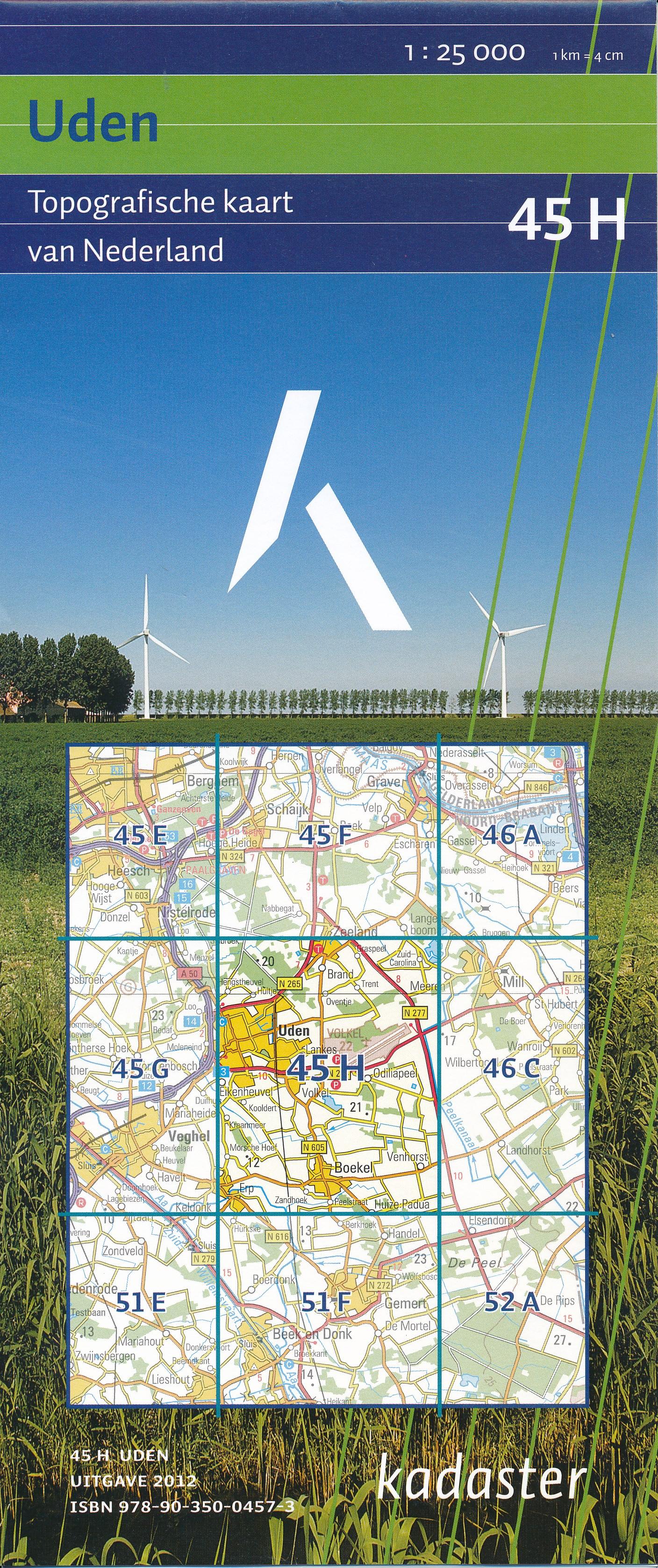 Topografische kaart - wandelkaart 45H Uden