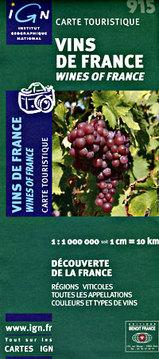 Wegenkaart - Landkaart 915 Vins de France - Wijnen van Frankrijk   IGN